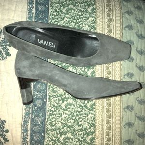 Gray heels with black detail